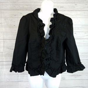 LOFT Open Front Jacket Sz Large Black Ruffle Trim